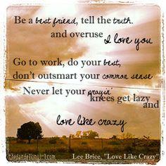 new typography -- lee brice -- love like crazy  (Photoshop Elements & instagram)