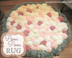 How to make a pom pom rug. Step by step instructions. | suzyhomemaker.net