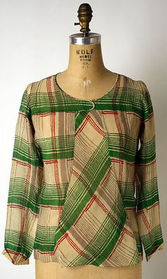 """Blouse (Overblouse)  House of Chanel (French, founded 1913)  Designer: Gabrielle """"Coco"""" Chanel (French, Saumur 1883–1971 Paris) Date: 1926–30 Culture: French Medium: silk, wool"""