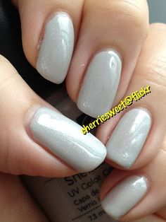 CND Shellac layering Silver VIP Status (1 coat) over Cityscape (2 coats)