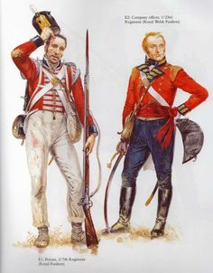 Private Line Company 2nd Battalion 7th (Royal Fusiliers) & Officer 23rd(Royal Welch Fusiliers) Campaign Dress, 1809 British Army Uniform, British Uniforms, British Soldier, Military Art, Military History, Empire, British Army Equipment, Commonwealth, Best Uniforms