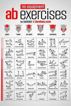 No-equipment Ab Exercises Workout Chart 24