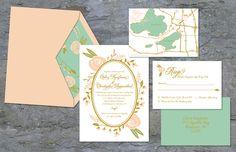 Garden Wedding Invites by Adria Kaufman, via Behance