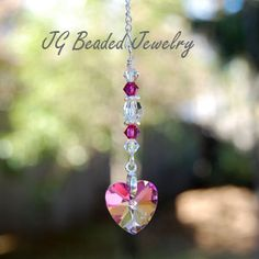 Pink Vitrail Crystal Heart Rearview Car Charm #suncatchers #prism #crystals #heart