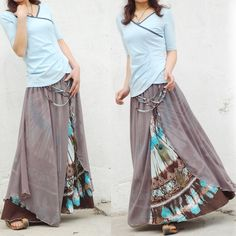 Boho peacock sari skirt Skirt fall trend - maxi dresses and skirts are still in Bright Pink Maxi Skirt Moda Hippie, Moda Boho, Hippie Gypsy, Maxi Skirt Outfits, Dress Skirt, Flowy Skirt, Estilo Hippy, Look Fashion, Womens Fashion