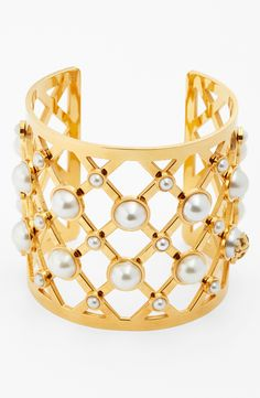 Gorgeous gold lattice cuff bracelet with pearls | Tory Burch