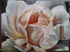 Gorgeous cream rose, acrylic and oil glaze on canvas, 120cm x 90cm $680 SOLD