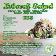 Broccoli salad- put in less sugar Healthy Eating Recipes, Healthy Meal Prep, Healthy Snacks, Cooking Recipes, Healty Meals, Cooking Food, Flat Belly Diet, Broccoli Salad, Eating Plans