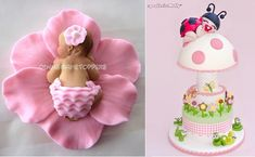 baby models and baby cake toppers by Dina's Cake Toppers left, Molly Coppini right