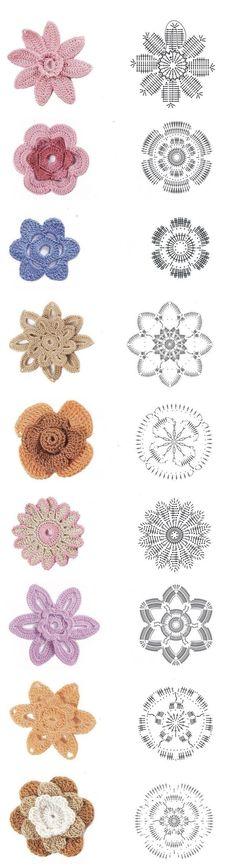 Как связать цветы крючком? Схемы вязания? Irish Crochet Patterns, Crochet Chart, Free Crochet, Freeform Crochet, Crochet Motif, Crochet Flowers, Flower Chart, Diy Crafts Crochet, Craft Free
