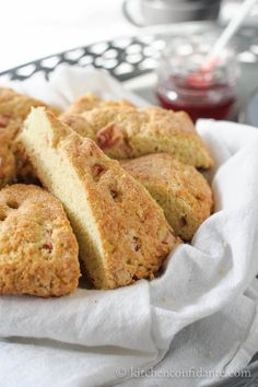 """Scones are my number one breakfast food of all time.  Especially when I""""m always on the run! Rhubarb Scones by Kitchen Confidante"""