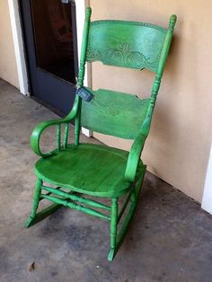 Favorite chair ever! Painted with ASCP in Antibes Green and dark wax.