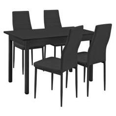 Modern, Dining, Furniture, Home Decor, Dinning Table Set, Artificial Leather, Homes, Color Black, Homemade Home Decor