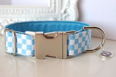 Checkered Dog Collar In Light Blue And White by TwistedPetDesigns, $23.00