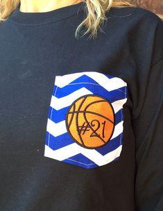 Basketball monogrammed pocket tshirt