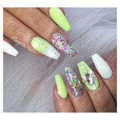 Lime green and white coffin nails Swarovski pixie crystals nail art design