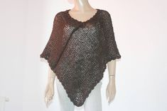 Brown Knitted Crocheted Summer Poncho cotton poncho linen | Etsy