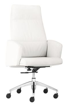 Zuo Modern 206081 Chieftain High Back Office Chair in White