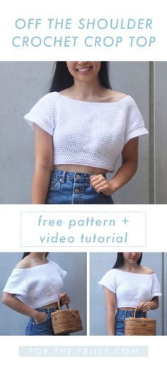 Off the Shoulder Crochet Crop Top - Free Crochet Pattern + Video tutorial - for the frills