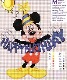 Disney mickey mouse happy birthday cross stitch