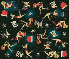 roller derby girls fabric