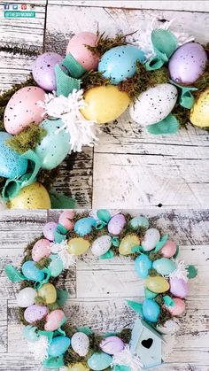 Easter Dollar Store DIY Ideas - Learn how to make a sweet egg wreath, bunny napkin holders and a bunny tray all with dollar store s - Diy Spring Wreath, Diy Wreath, Spring Crafts, Easter Projects, Easter Crafts, Easter Ideas, Holiday Wreaths, Holiday Crafts, Diy Osterschmuck