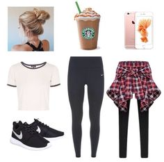 Stylish athletic outfit for teens. A white crop top, black nike running leggings, a plaid shirt to wrap around, nike black and white roshes, hair in a messy bun, an iphone 6s, and a starbucks frappé.