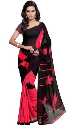 Poly Georgette Black Gajri Beautiful Pritned Saree With Unstitch Blouse