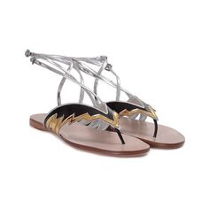 MIU MIU Leather flat sandal (€300) ❤ liked on Polyvore featuring shoes, sandals, multi, black leather shoes, flat sandals, black sandals, ankle wrap sandals and black shoes