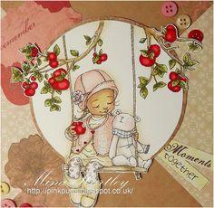 "Pinkpuds - Mo Manning digi ""Elke and Bear"" -  distress ink colours used skin - antique linen, frayed burlap, tattered rose, spun sugar hat & cardigan - tattered rose, victorian velvet, fired earth dress and boots - antique linen tights - pumice stone. victorian velvet bear - pumice stone, spun sugar scarve - faded jeans, spun sugar swing & rope - frayed burlap tree, leaves and apples - frayed burlap, antique linen, peeled paint, fired earth shading - antique linen"