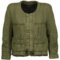 Haider Ackermann - Cropped Frayed Linen And Cotton-blend Jacket (17 365 UAH) ❤ liked on Polyvore featuring outerwear, jackets, army green, green cropped jacket, haider ackermann, green camo jacket, cropped jacket and drape jacket