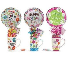 Get our Gift Mug Assortment, so you may shower Mom with something sentimental + sweet. Cupcake Gift Baskets, Mother's Day Gift Baskets, Candy Bouquet Diy, Diy Bouquet, Bouquets, Mother's Day Mugs, Balloon Gift, Candy Crafts, Valentines Diy