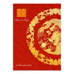 Gold dragon classic double happiness wedding RSVP - http://www.zazzle.com/gold_dragon_classic_double_happiness_wedding_rsvp-161127164488874228