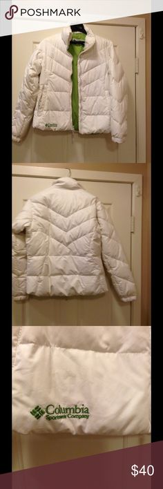 White Columbia coat Very good condition. Worn but not worn out Columbia Jackets & Coats Puffers