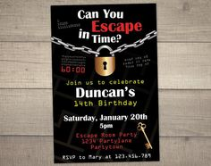 Escape Room Invitation, Escape Room Party, Escape Room Birthday Party, Escape Room Invite, Teen Invite - With FREE Thank you. Digital File