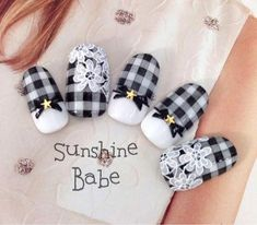 Nail art is a very popular trend these days and every woman you meet seems to have beautiful nails. It used to be that women would just go get a manicure or pedicure to get their nails trimmed and shaped with just a few coats of plain nail polish. Checkered Nails, Plaid Nails, Gorgeous Nails, Pretty Nails, Black And White Nail Designs, Black White, Japanese Nail Art, Nail Time, Stamping Nail Art