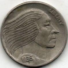 RAY CASTRO HOBO NICKEL - 1936 BUFFALO PROFILE Hobo Nickel, Buffalo, Classic Style, Coins, Carving, Profile, Personalized Items, Art, User Profile