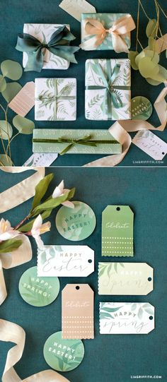 Printable Botanical #Giftwrap at www.LiaGriffith.com