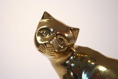 Vintage Bronze Kitty Cat Statue Statuette Book End от Revendeur