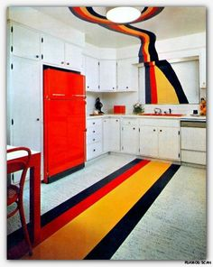 1960s 1970s groovy modern kitchen white with red refrigerator.  Neato!