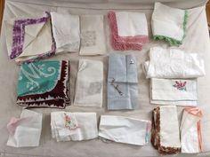 Lot of 16 Vintage Embroidered Crochet Cotton Handkerchiefs Hankys - Cutter Lot  | eBay