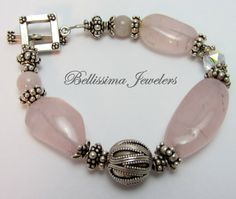 Bellissima Jewelers - Chunky Silver & Rose Quartz Bracelet. One of a Kind unique gift.