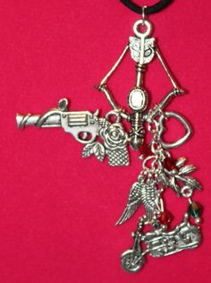 Daryl Dixon Inspired Necklace Cross Bow Wings by musicissanity, $12.99