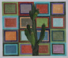 Sagaro Cactus on geometric background needlepoint canvas