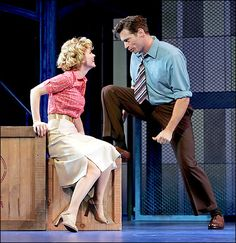 "Kelli O'Hara as Babe, the labor committee head, and Harry Connick Jr. as Sid, the superintendent, in ""The Pajama Game."" 2006"