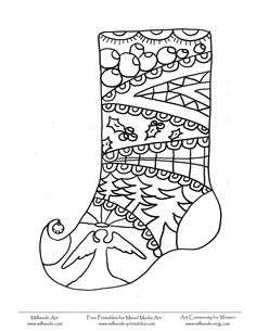 Christmas Coloring Page Stocking , Milliande\'s Original Free ...