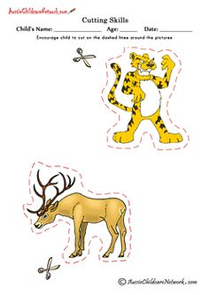 24 Printable Cutting Pictures of Animals, Cartoons,  Birds, People, Vehicles,