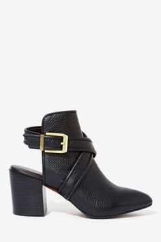 Report Turner Leather Bootie // black pebbled leather + strap + buckle + backless + stacked heel
