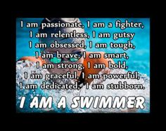 "Swimming Poster I AM A SWIMMER Inspiration Motivation Pride Traits Attributes Qualities Photo Quote Wall Art Print 8x11"" - Free USA Ship"