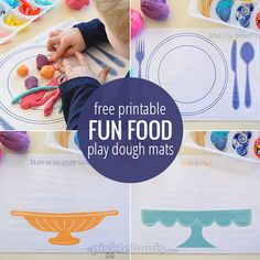 I started out making place mats and ended up making these fun food play dough mats - download the free printables and make your own fun food!